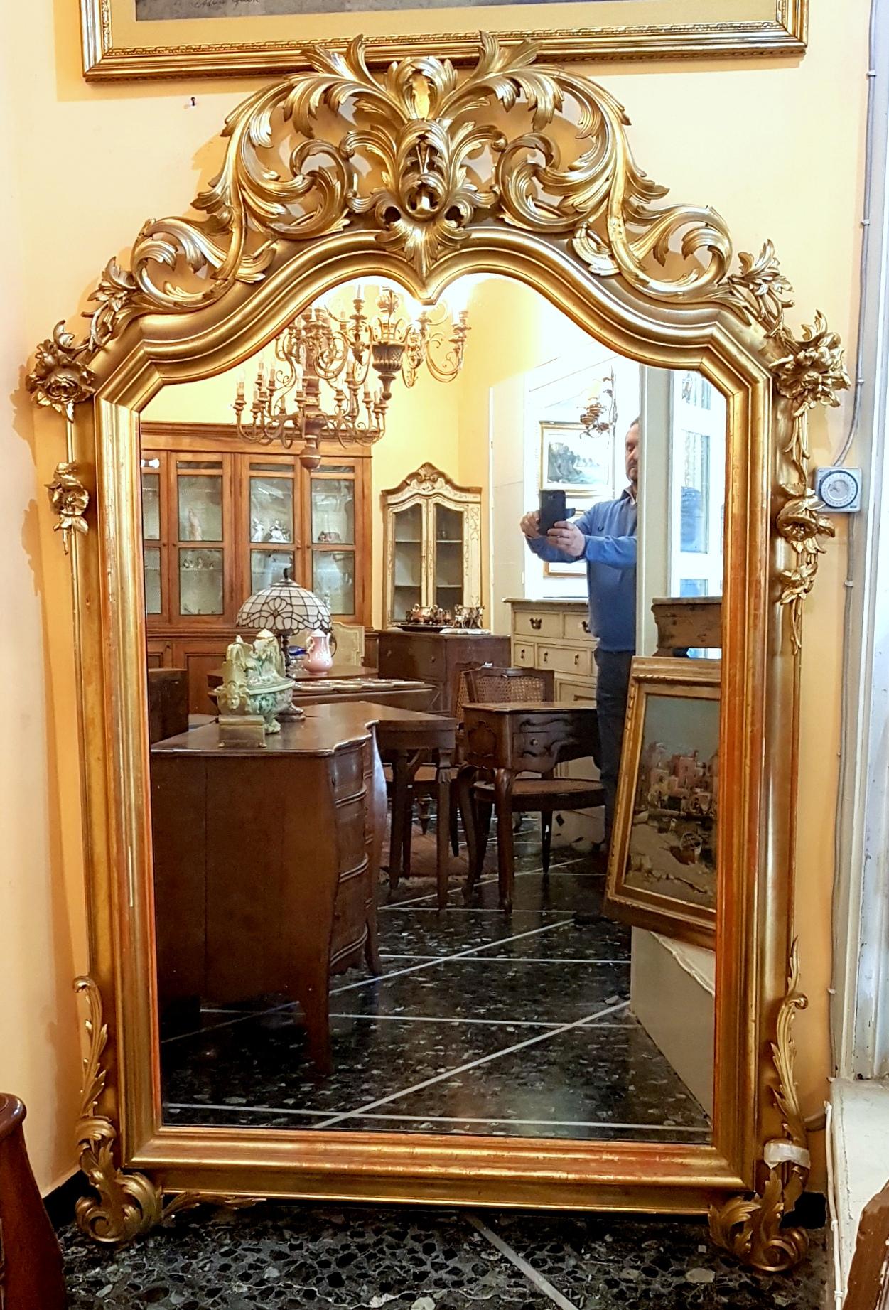 ANTIQUE MIRROR STYLE LUIGI XV EPOCH '800 - GOLD LEAF | Antiques ...