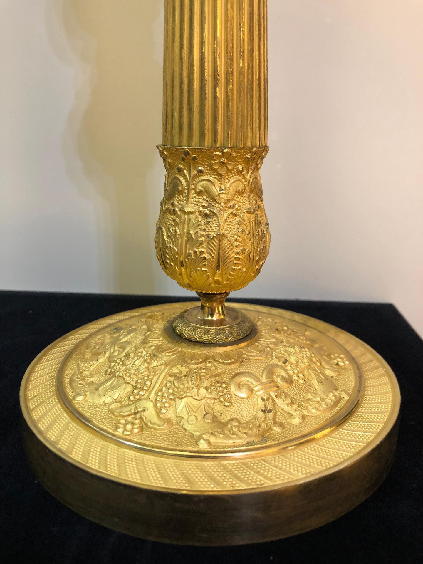 thumb3|Coppia di bugie in bronzo dorato Impero Francia 1810