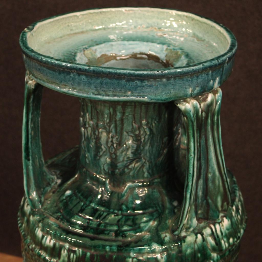 thumb5|Vaso italiano in terracotta smaltata verde