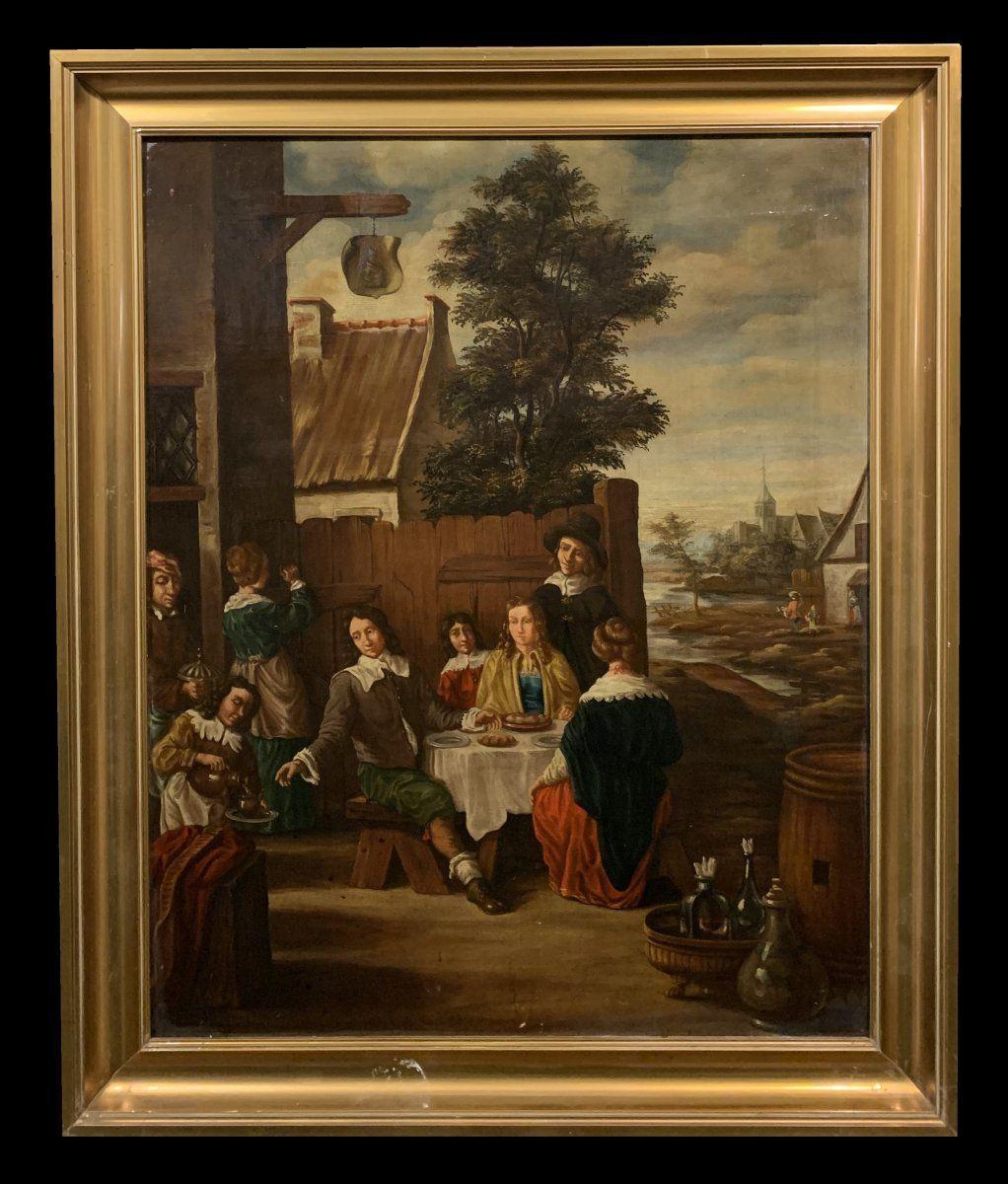 Scuola francese dall'inizio del XX secolo - Una kermesse a Holande (al seguito di Teniers)
