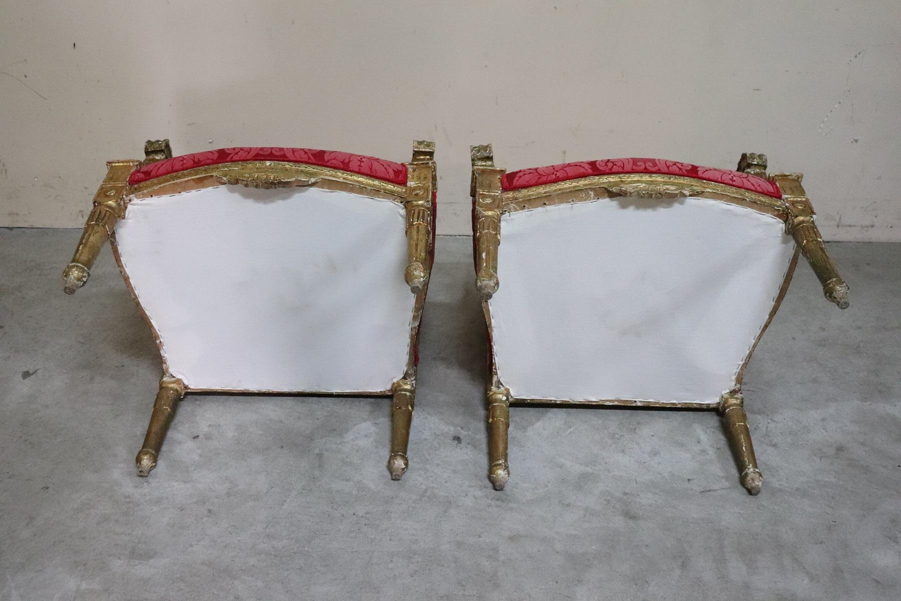 thumb10|Coppia di poltrone in stile antico Luigi XVI legno intagliato e dorato PREZZO TRATTABILE