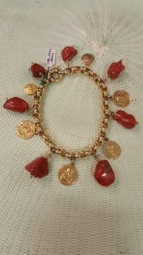 Bracciale charms oro antico