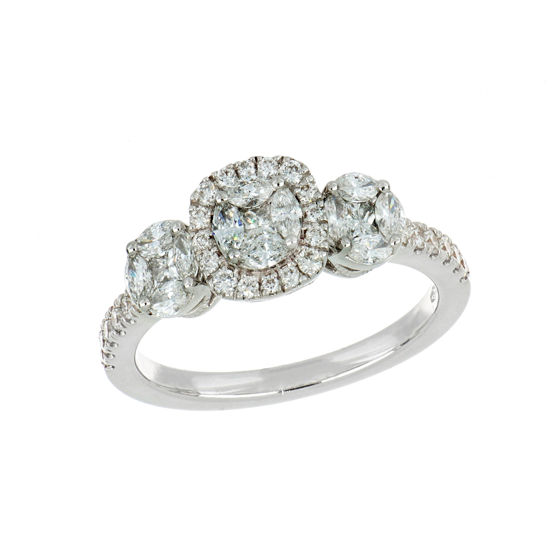 Anello in oro bianco con diamanti Princess