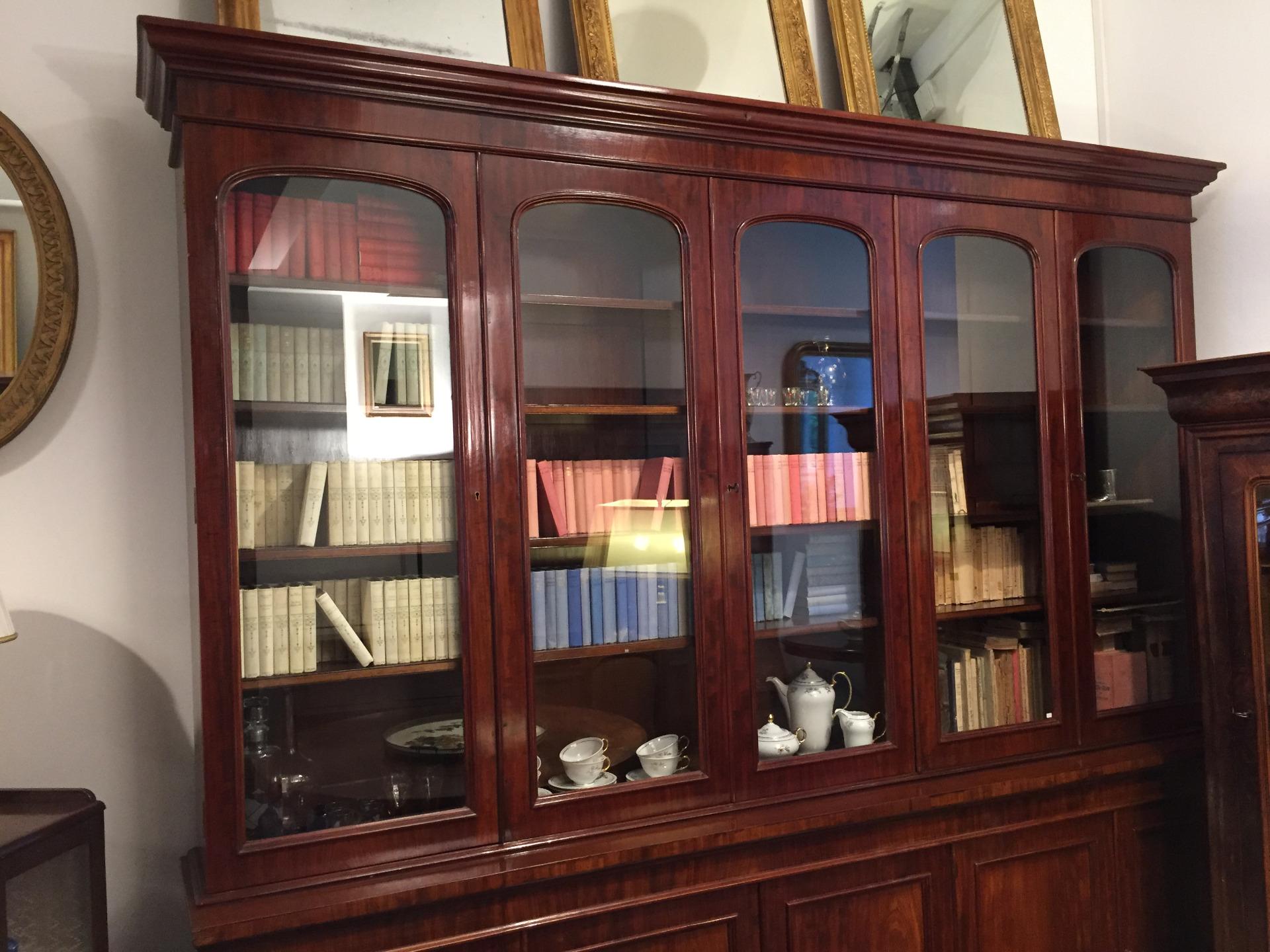 Libreria in mogano anni 30 40 inglese stile vittoriano antiquariato su anticoantico - Mobili stile vittoriano ...