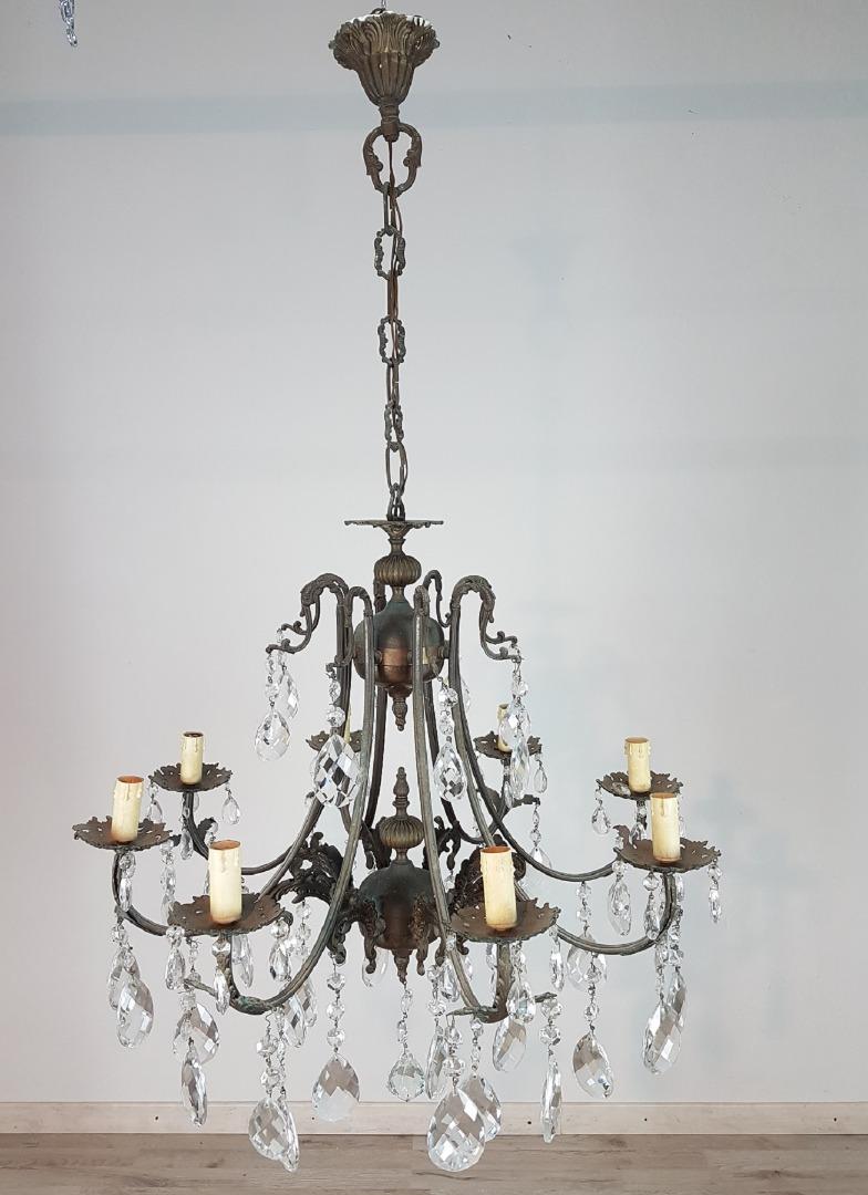 Lampadario Antico In Bronzo E Gocce Cristallo Primi 1900 Sec.XX 8 Luci Euro  400