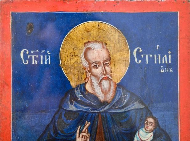 "thumb3|""San Stiliano di Paflagonia"" - Icona Greco-Ortodossa olio su legno, Greek Orthodox icon oil on wood"