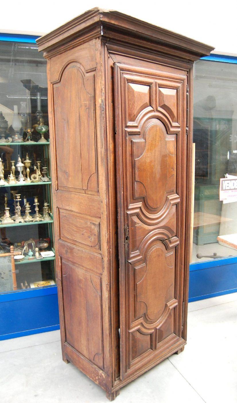 Stipo, armadio ad un\'anta \'700 Luigi XIV in rovere massello patina++ ...