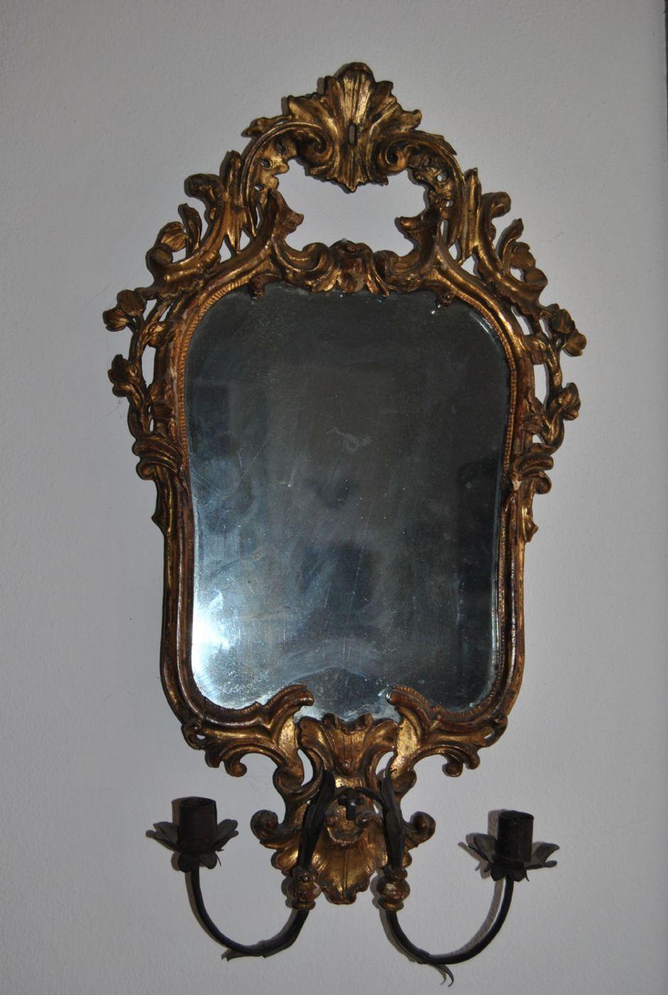 Cornice veneziana con specchio al mercurio antiquariato - Specchio con cornice dorata ...