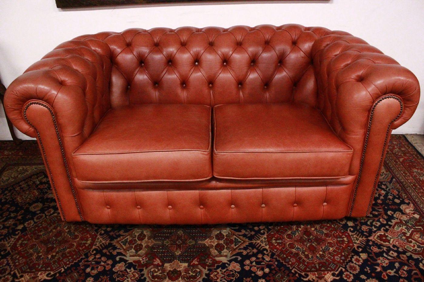 Divano In Pelle Chester.Chesterfield Sofa Chester English 2 Places Apricot Skin Color