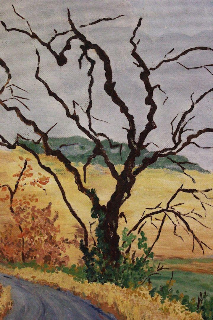 Dipinto Olio Su Tavola Raffigurante Paesaggio Di Campagna Painting