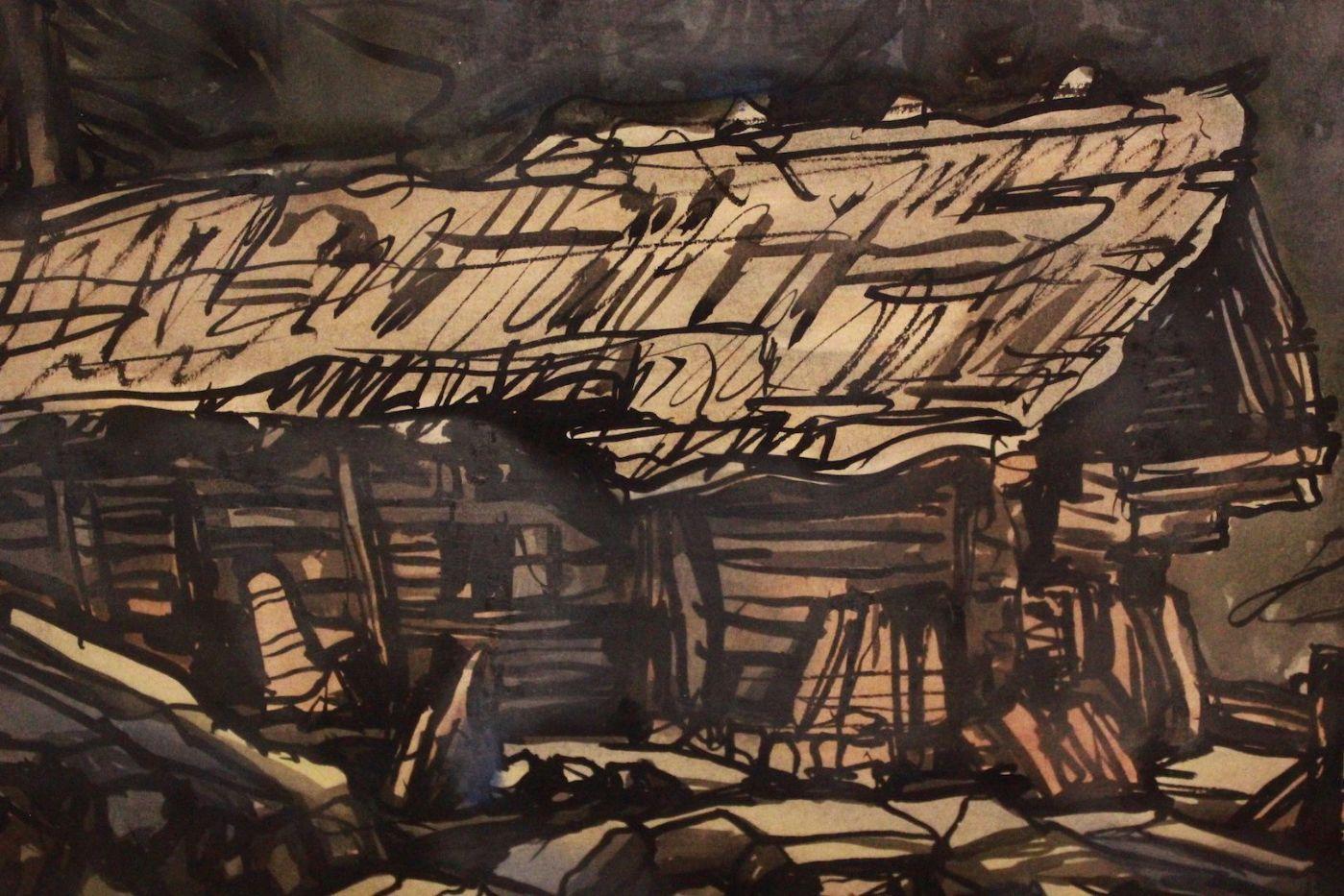 thumb3|Quadro acquerello su carta watercolor raffiguante paesaggio landscape art signed