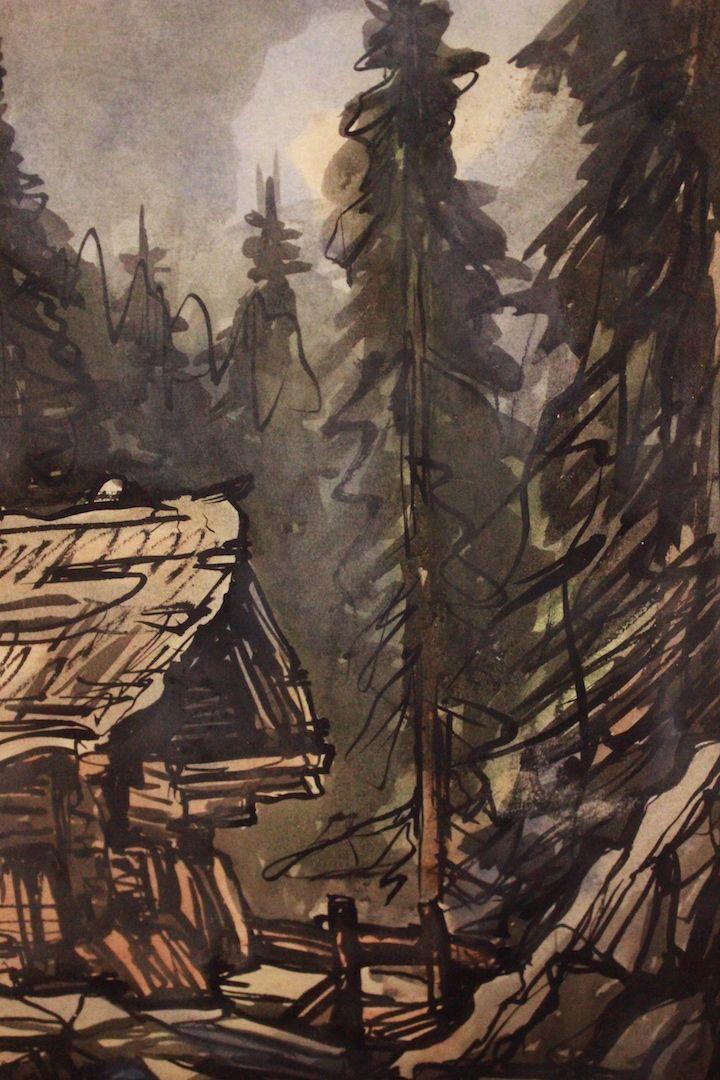 thumb4|Quadro acquerello su carta watercolor raffiguante paesaggio landscape art signed