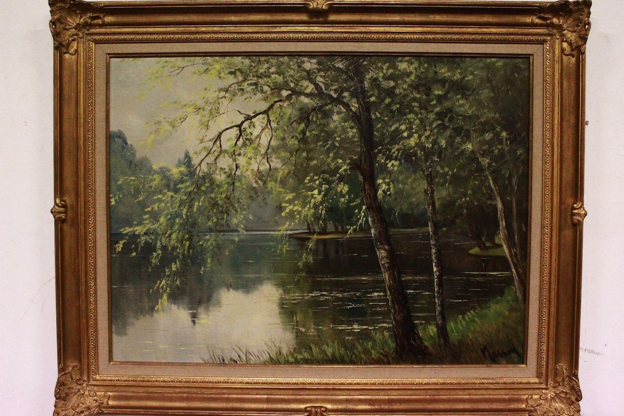 pintura al óleo del paisaje en lona con el marco de oro, firmado ...