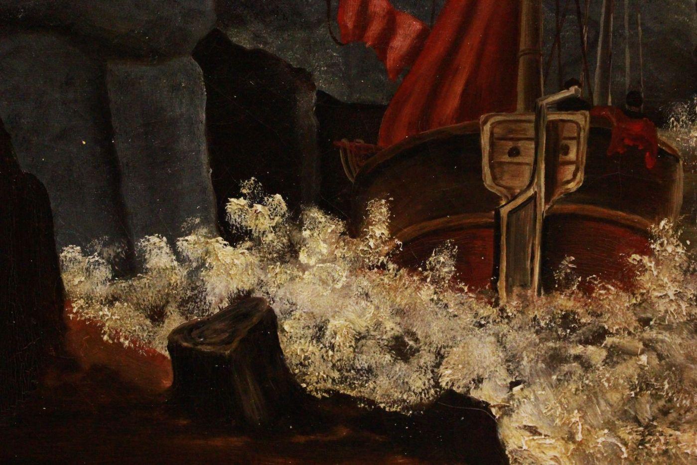 Großer Öl Sturm Bilderrahmen auf Leinwand gemalt signiert und ...