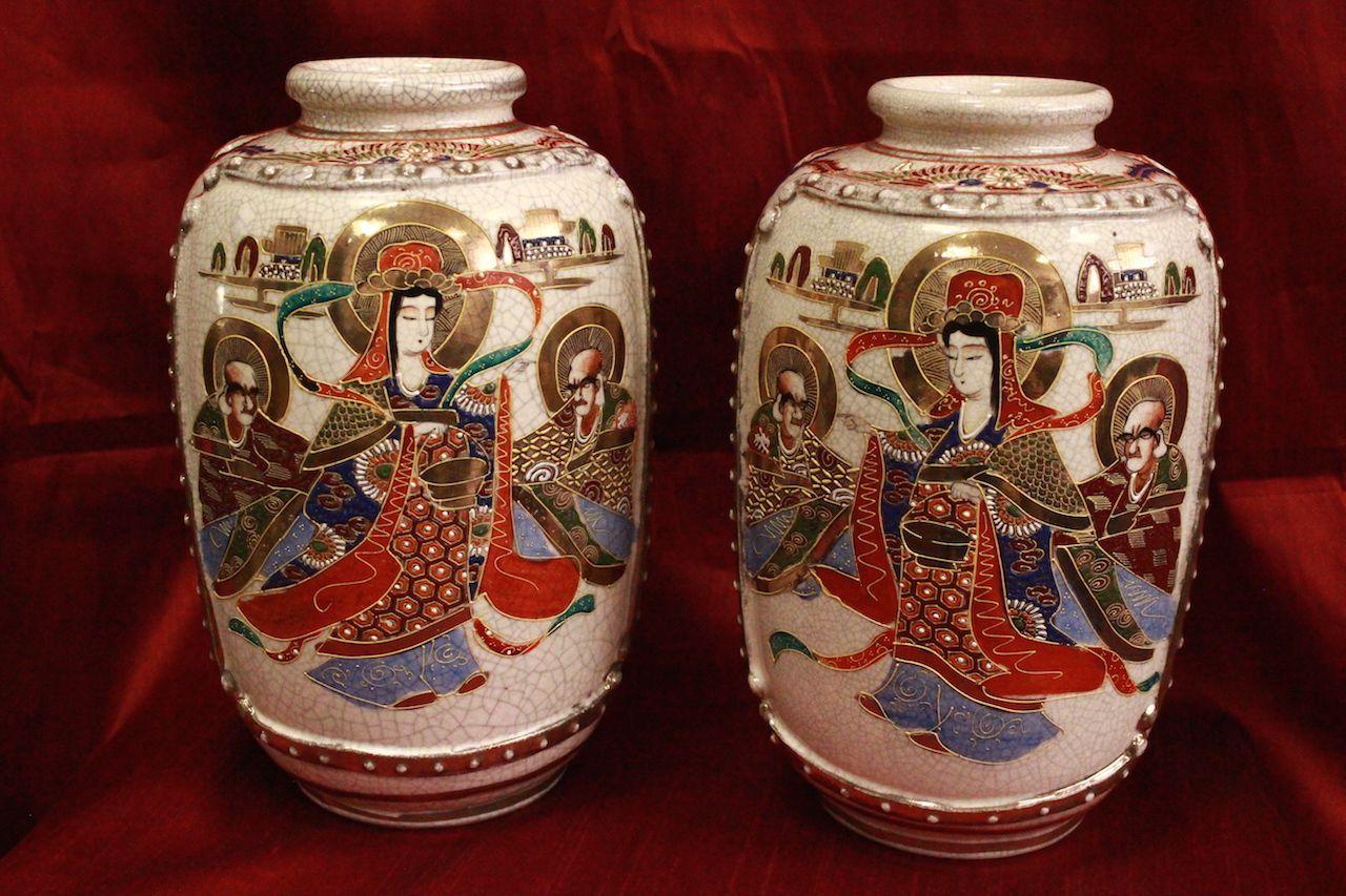 Coppia di vasi japan giapponesi satsuma couple anni 39 50 for Vasi giapponesi
