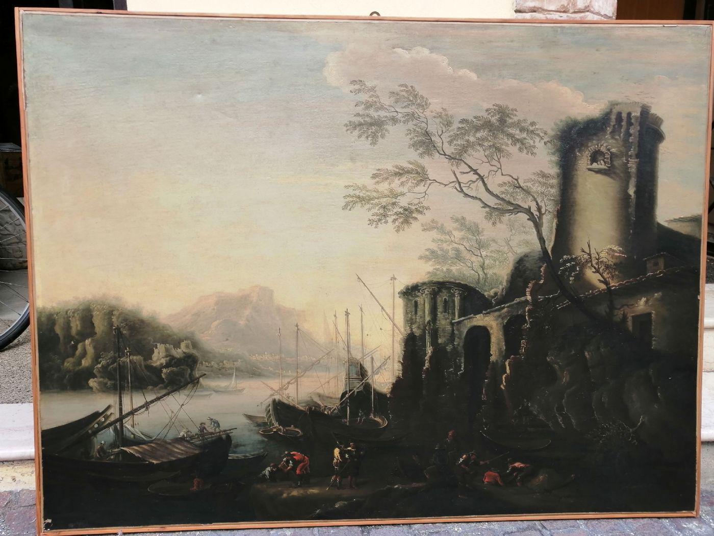 Marina delle torri - Paesaggio del '600 con squero, rovine e figure, da Salvator Rosa (1615 - 1673)