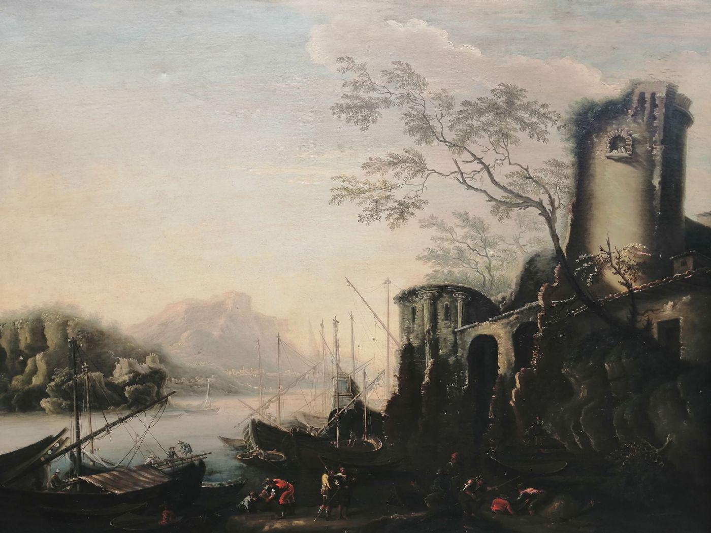 thumb2 Marina delle torri - Paesaggio del '600 con squero, rovine e figure, da Salvator Rosa (1615 - 1673)