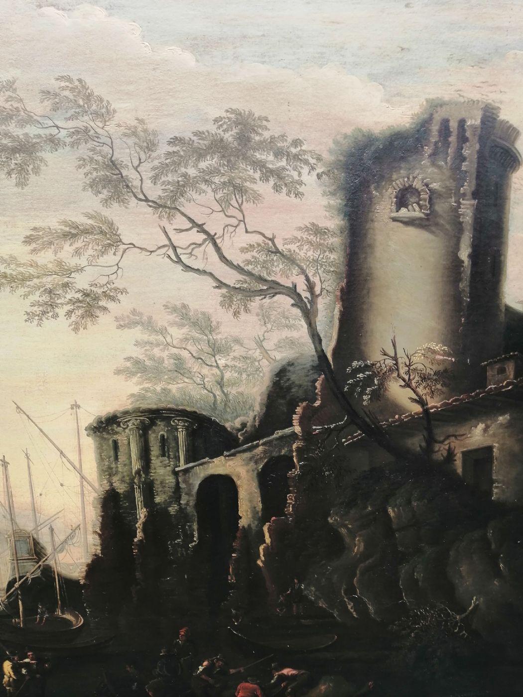 thumb3 Marina delle torri - Paesaggio del '600 con squero, rovine e figure, da Salvator Rosa (1615 - 1673)