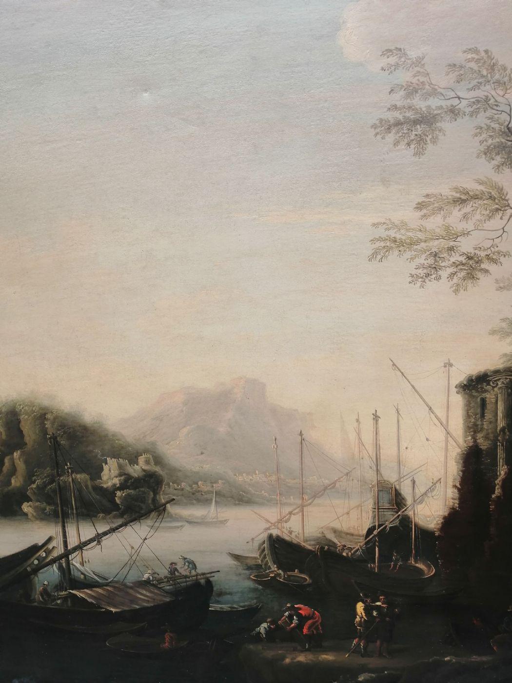 thumb4 Marina delle torri - Paesaggio del '600 con squero, rovine e figure, da Salvator Rosa (1615 - 1673)