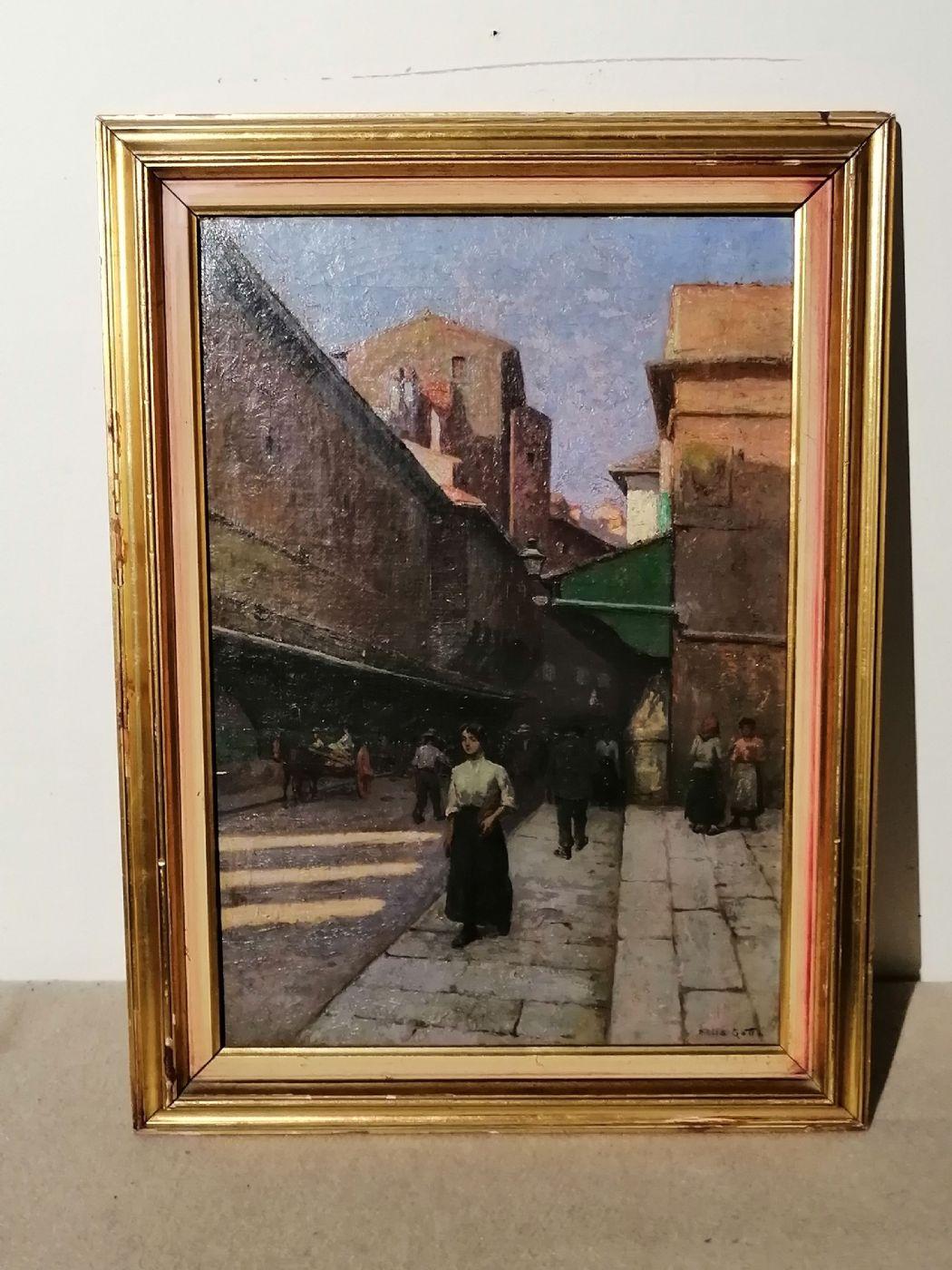 Anacleto Della Gatta (Sezze 1868 - Carmignano 1932) - Ponte Vecchio fine '800 primo '900  - Dipinto firmato