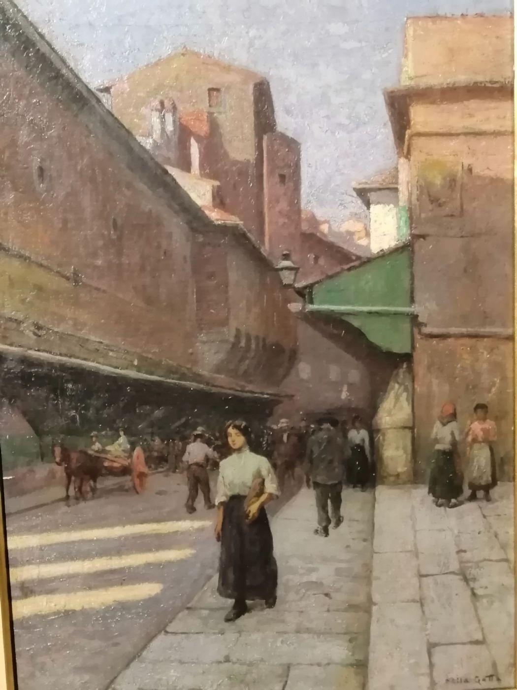 thumb2|Anacleto Della Gatta (Sezze 1868 - Carmignano 1932) - Ponte Vecchio fine '800 primo '900  - Dipinto firmato
