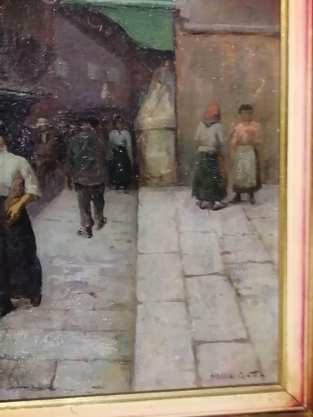 thumb4|Anacleto Della Gatta (Sezze 1868 - Carmignano 1932) - Ponte Vecchio fine '800 primo '900  - Dipinto firmato