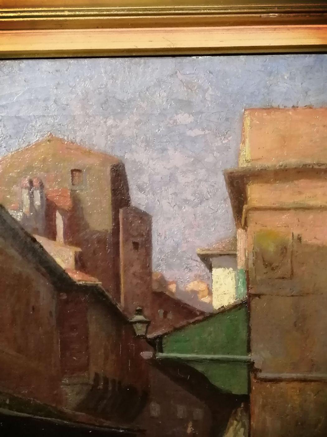 thumb5|Anacleto Della Gatta (Sezze 1868 - Carmignano 1932) - Ponte Vecchio fine '800 primo '900  - Dipinto firmato