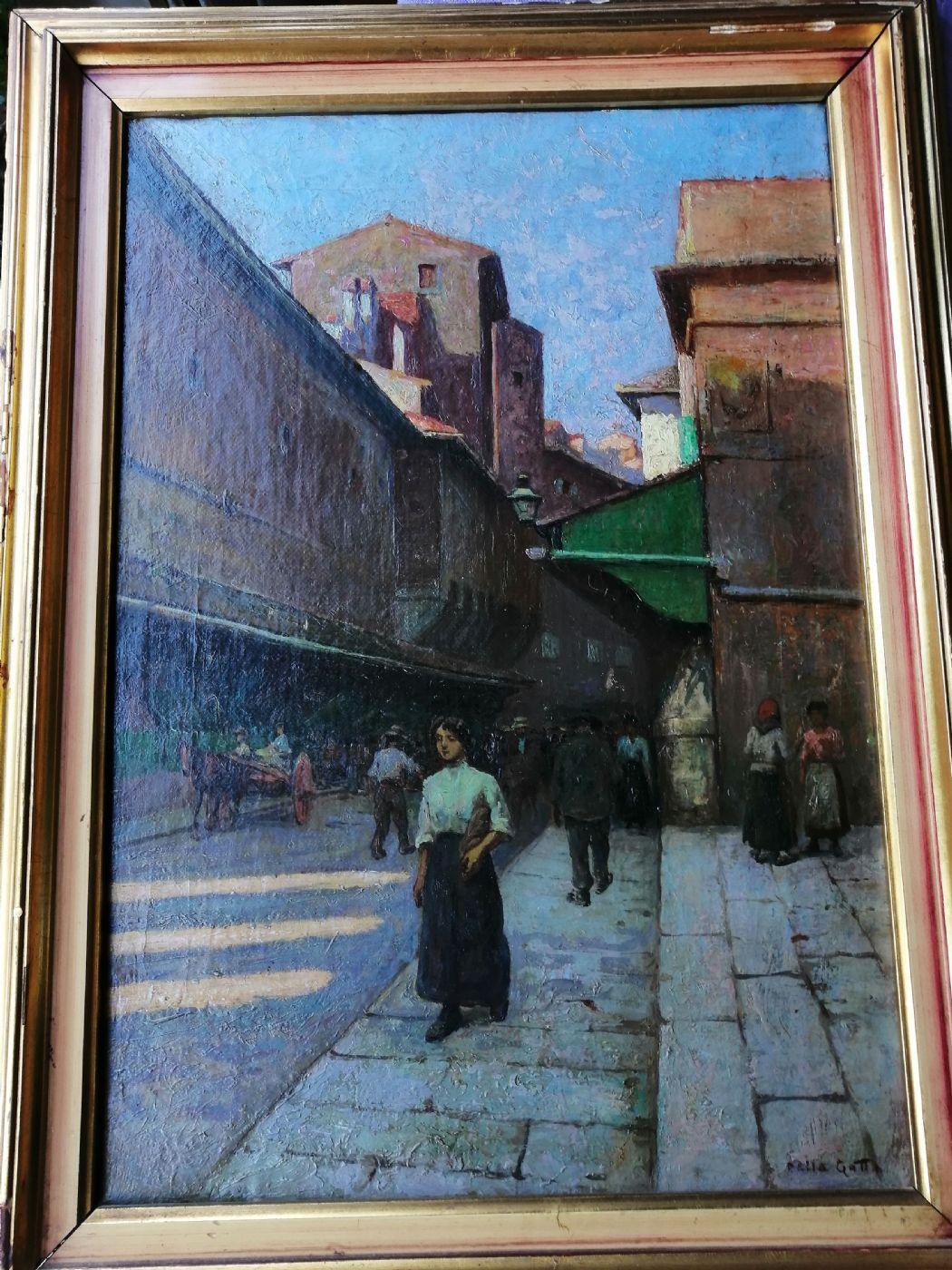 thumb10|Anacleto Della Gatta (Sezze 1868 - Carmignano 1932) - Ponte Vecchio fine '800 primo '900  - Dipinto firmato