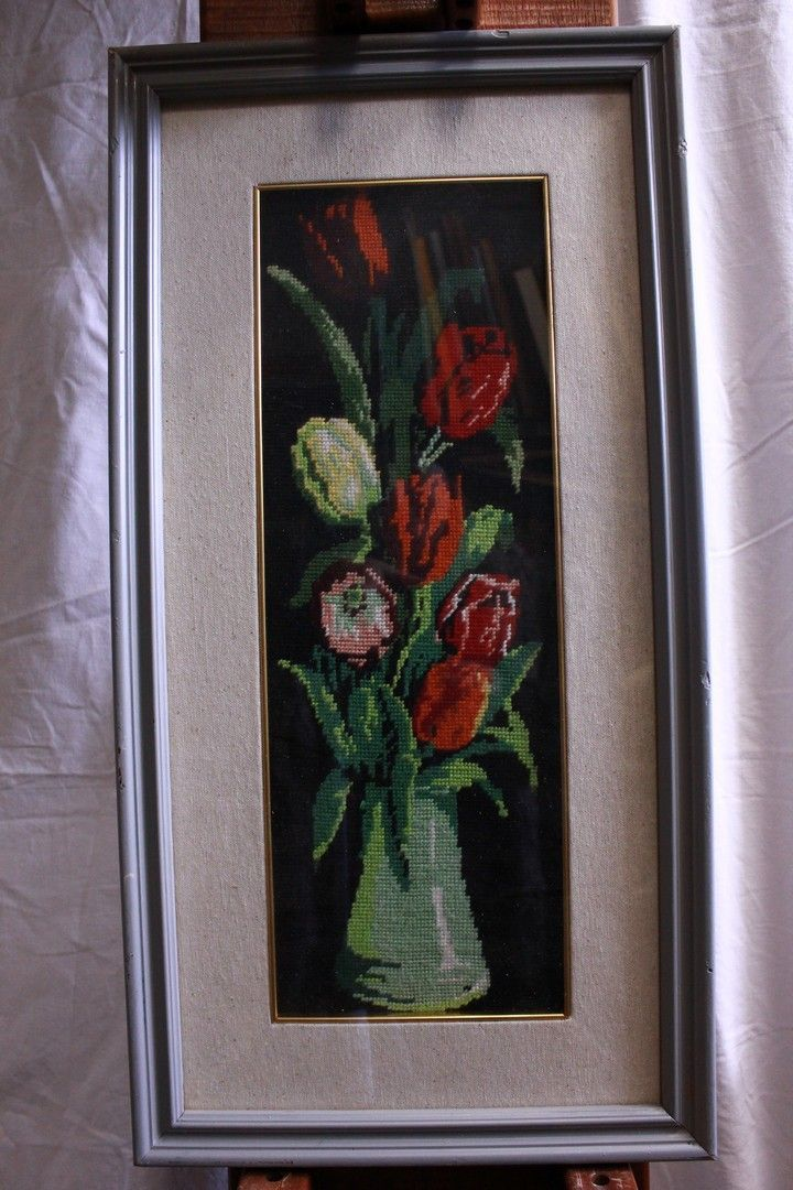 Quadro a mezzopunto raffigurante vaso di fiori con cornice e vetro 18 x 49
