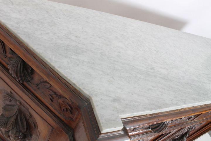 thumb10| Credenza Piattaia Napoli scantonata Neorinascimentale -  Liberty XIX sec . Vetrina antica finemente intagliata . Antiquariato
