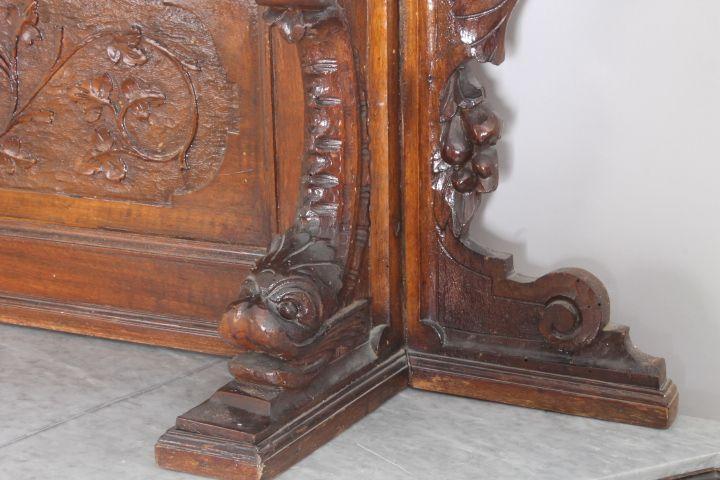 thumb7| Credenza Piattaia Napoli scantonata Neorinascimentale -  Liberty XIX sec . Vetrina antica finemente intagliata . Antiquariato