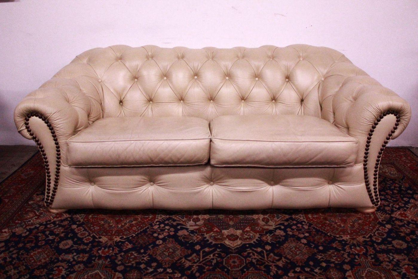 bel chesterfield sofa chester 3 pl tze englisch original ledercreme antiquit ten auf. Black Bedroom Furniture Sets. Home Design Ideas