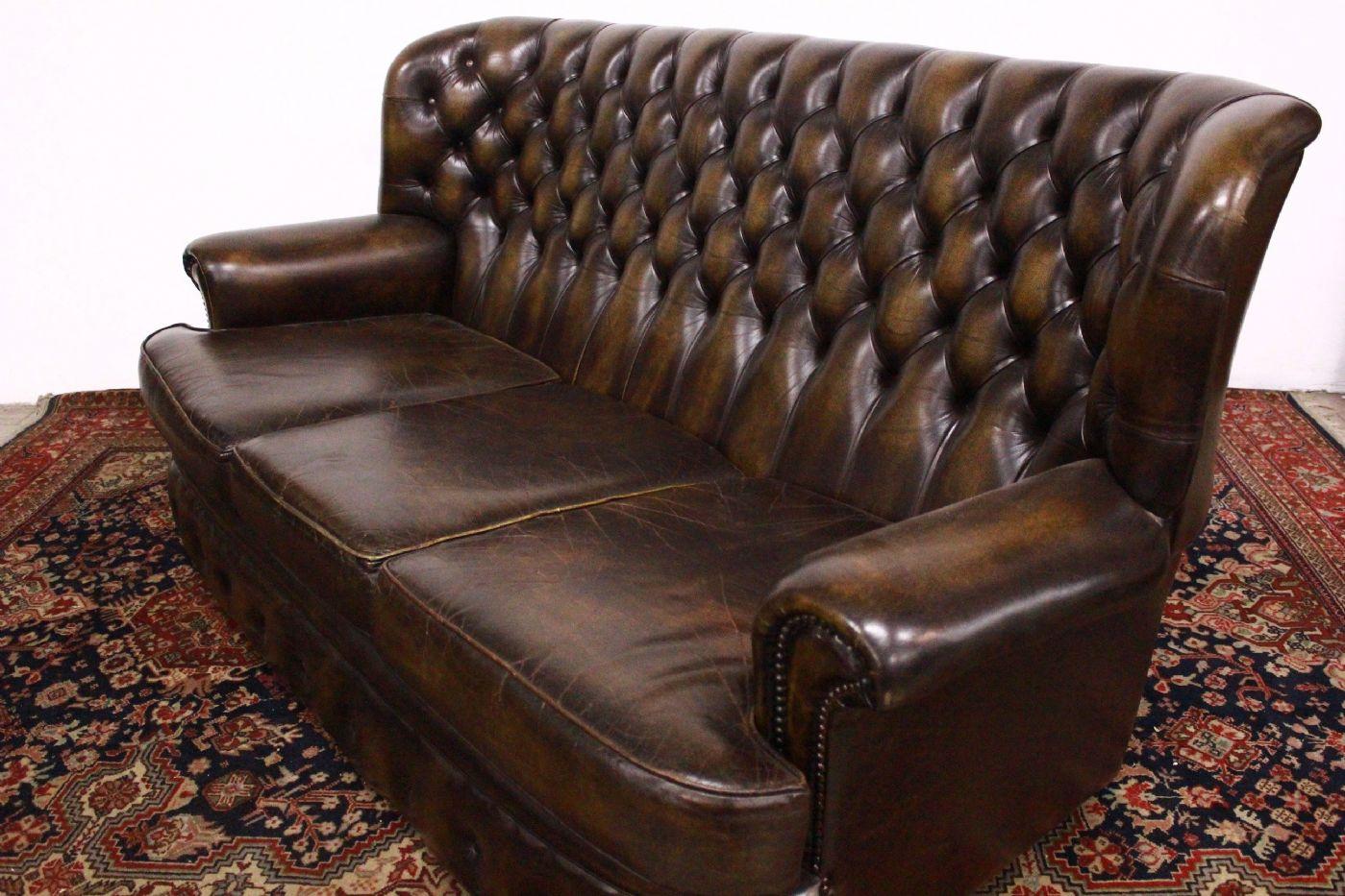 Original Chesterfield Sofa 3 Seats Dark Skin Mustard English