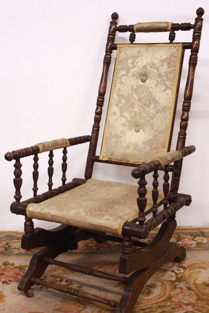Sedia Dondolo Antiquariato.Sedia A Dondolo Rocking Chair Meta 900 Antica Legno Wood