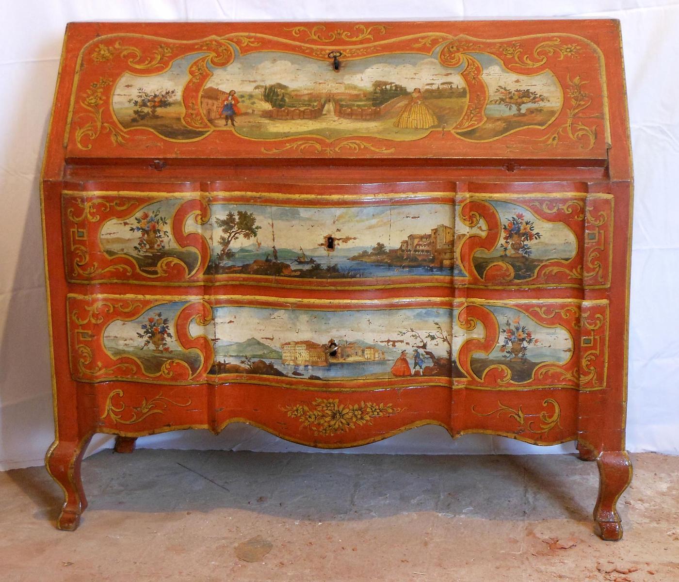 Cassettone a ribalta luigi xv dipinto antiquariato su - Luigi xv mobili ...