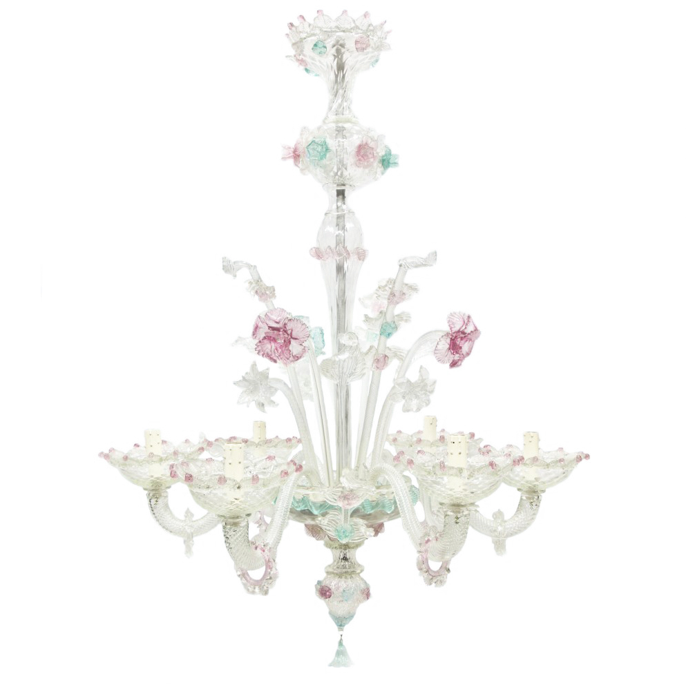 Verde Acqua E Rosa murano glass chandelier in pink and green | antiques on
