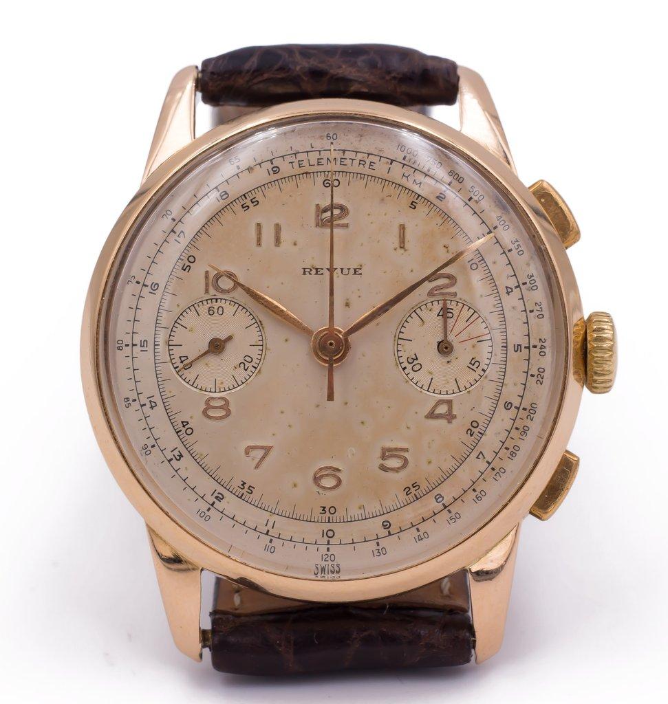 Cronografo in oro Revue anni 50