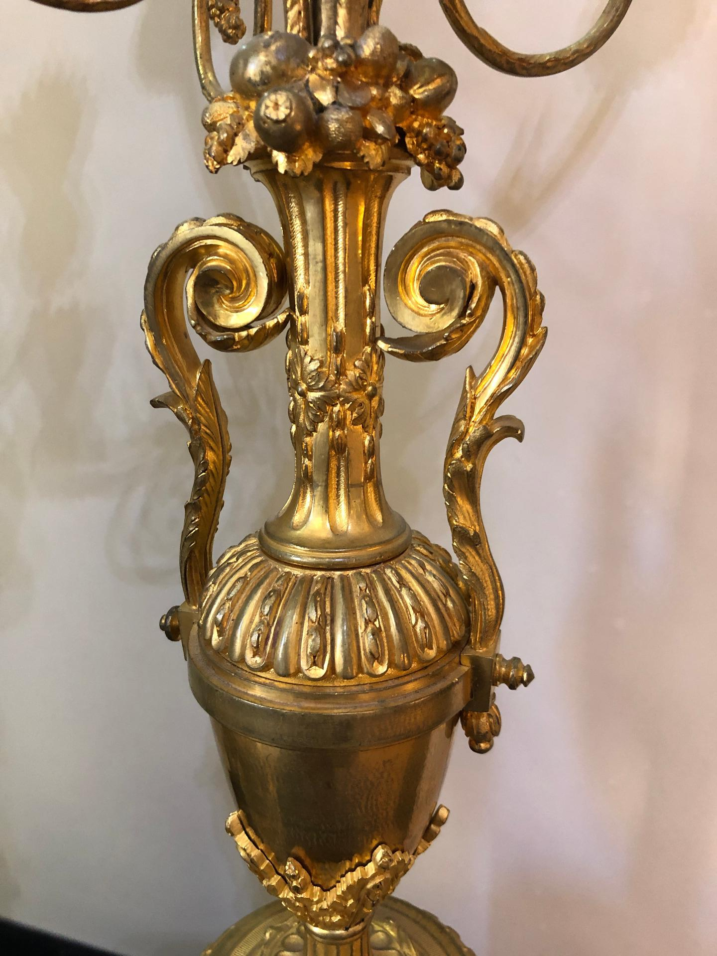 thumb9|Coppia di candelabri in bronzo dorato Francia XIX sec.