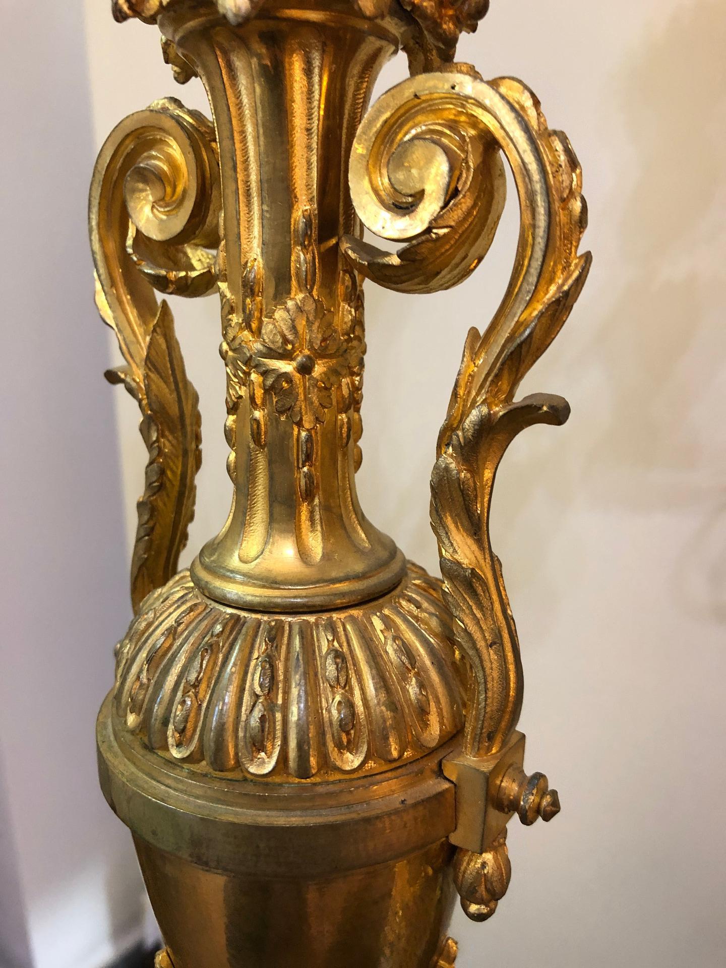 thumb8|Coppia di candelabri in bronzo dorato Francia XIX sec.