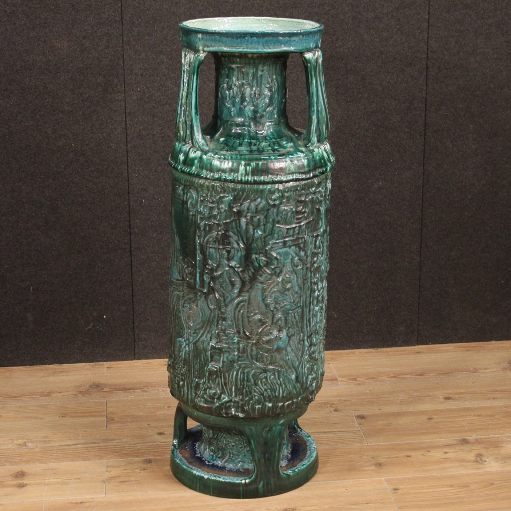 Vaso italiano in terracotta smaltata verde