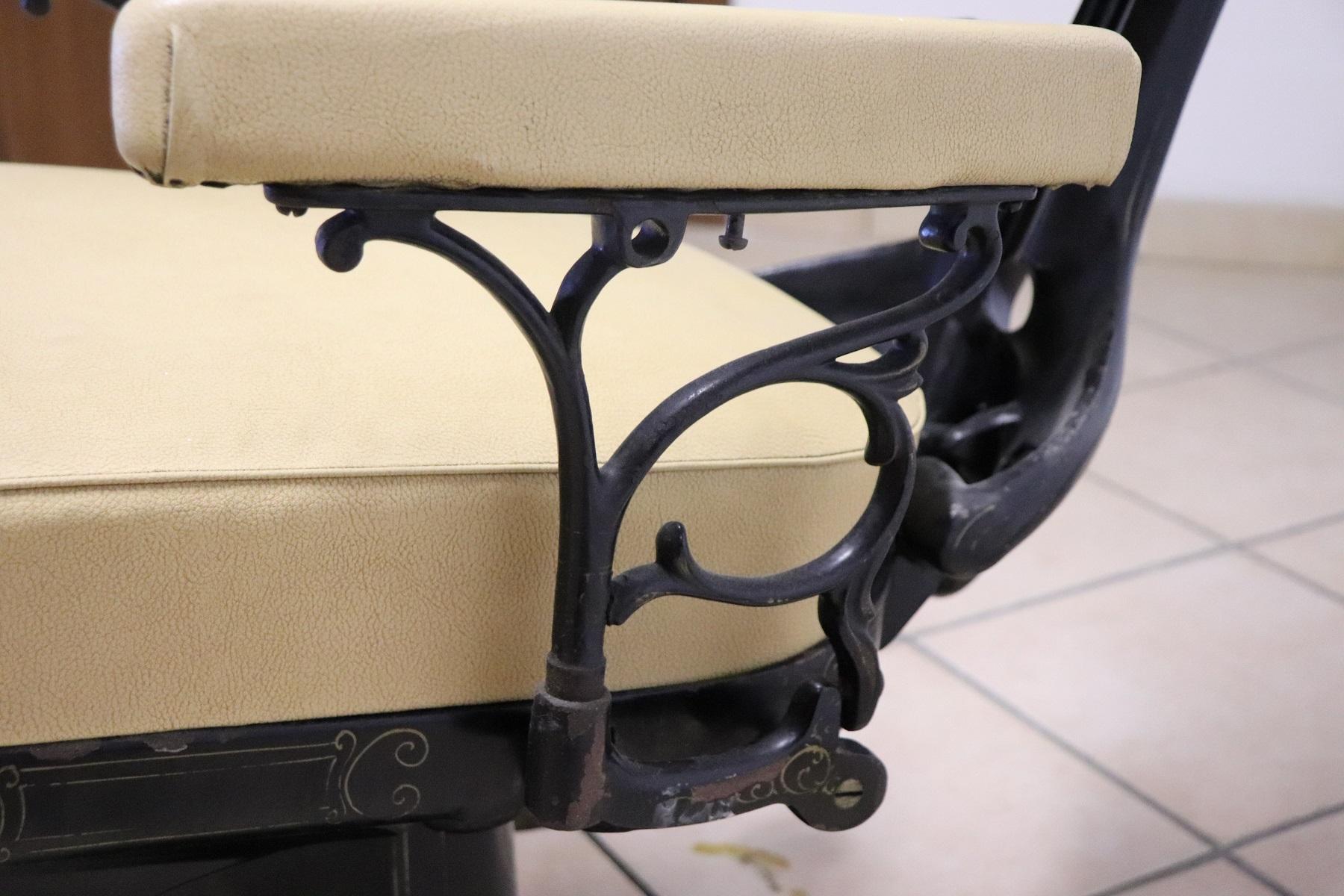 thumb6|Sedia da dentista antica in ferro forgiato e pelle, 1910 PREZZO TRATTABILE