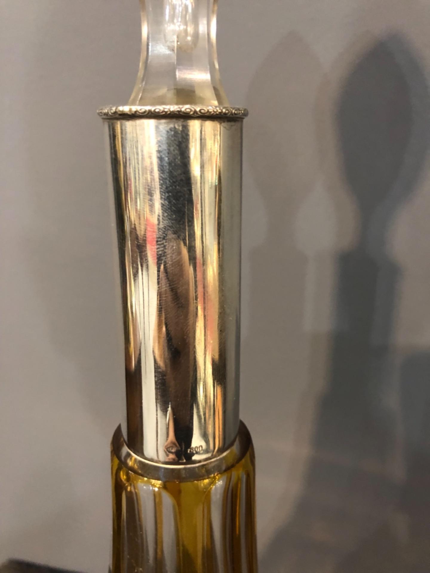 thumb3|Bottiglia boemia incisa con collo in argento.