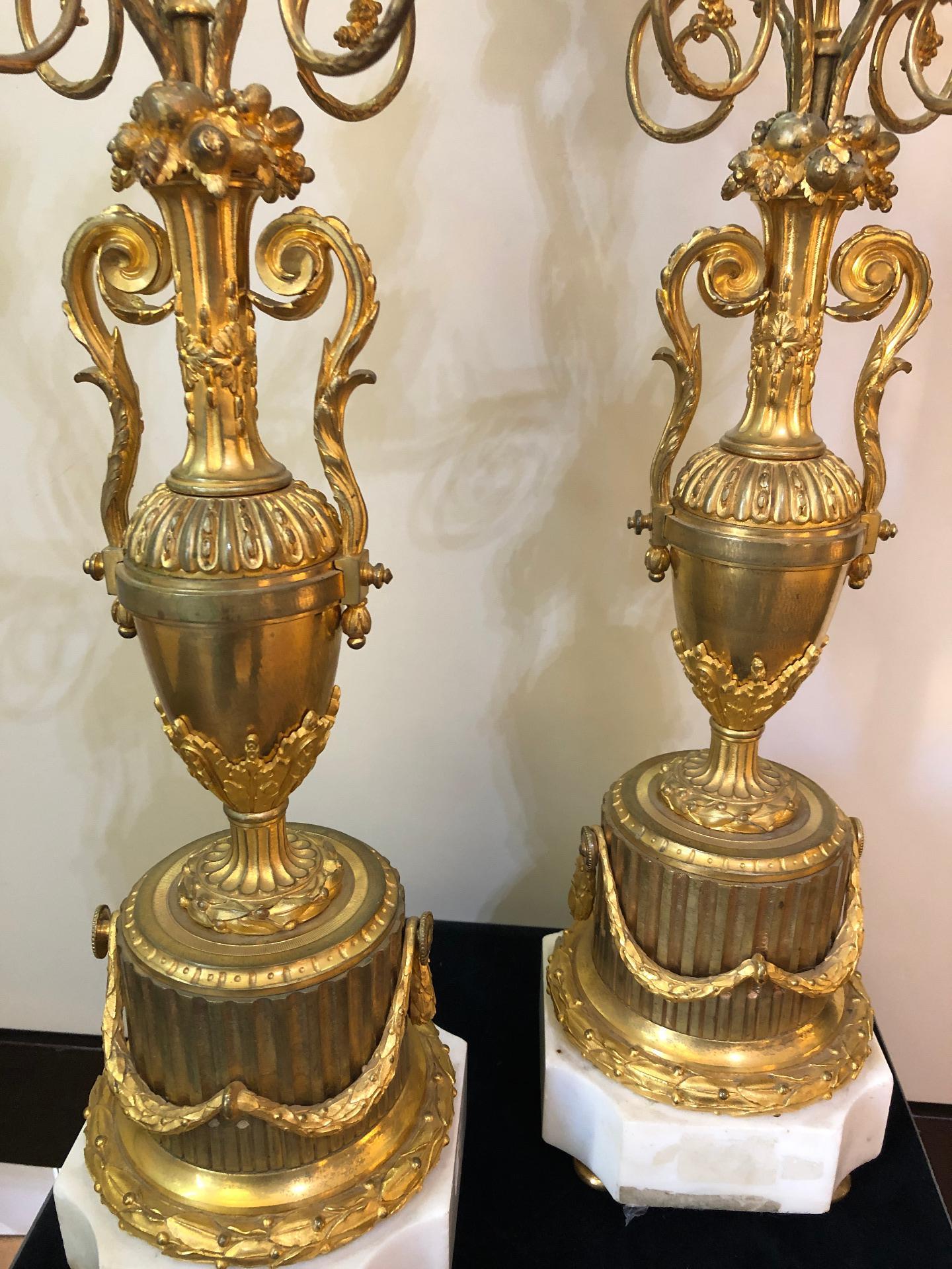 thumb3|Coppia di candelabri in bronzo dorato Francia XIX sec.