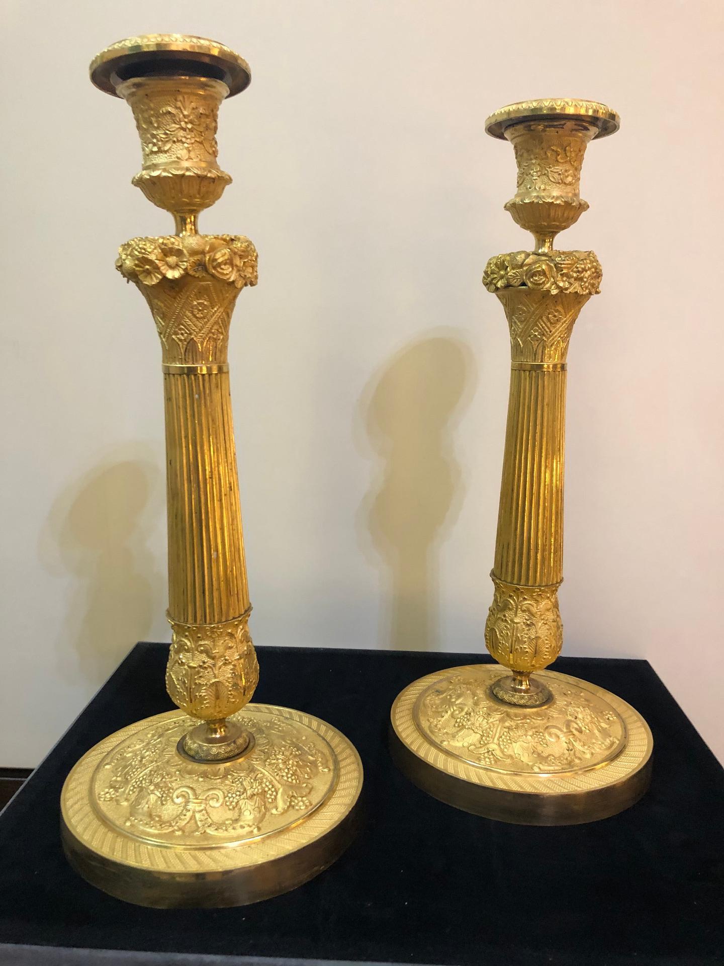 thumb6|Coppia di bugie in bronzo dorato Impero Francia 1810
