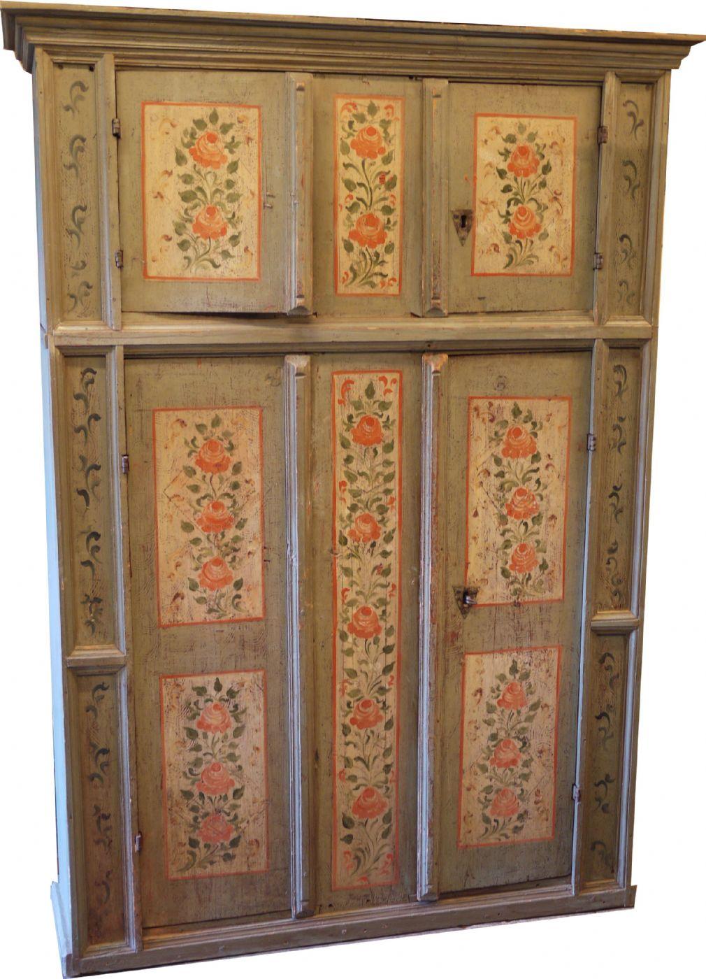 Armadi Tirolesi Dipinti credenza - armadio tirolese dipinta | antiquariato su