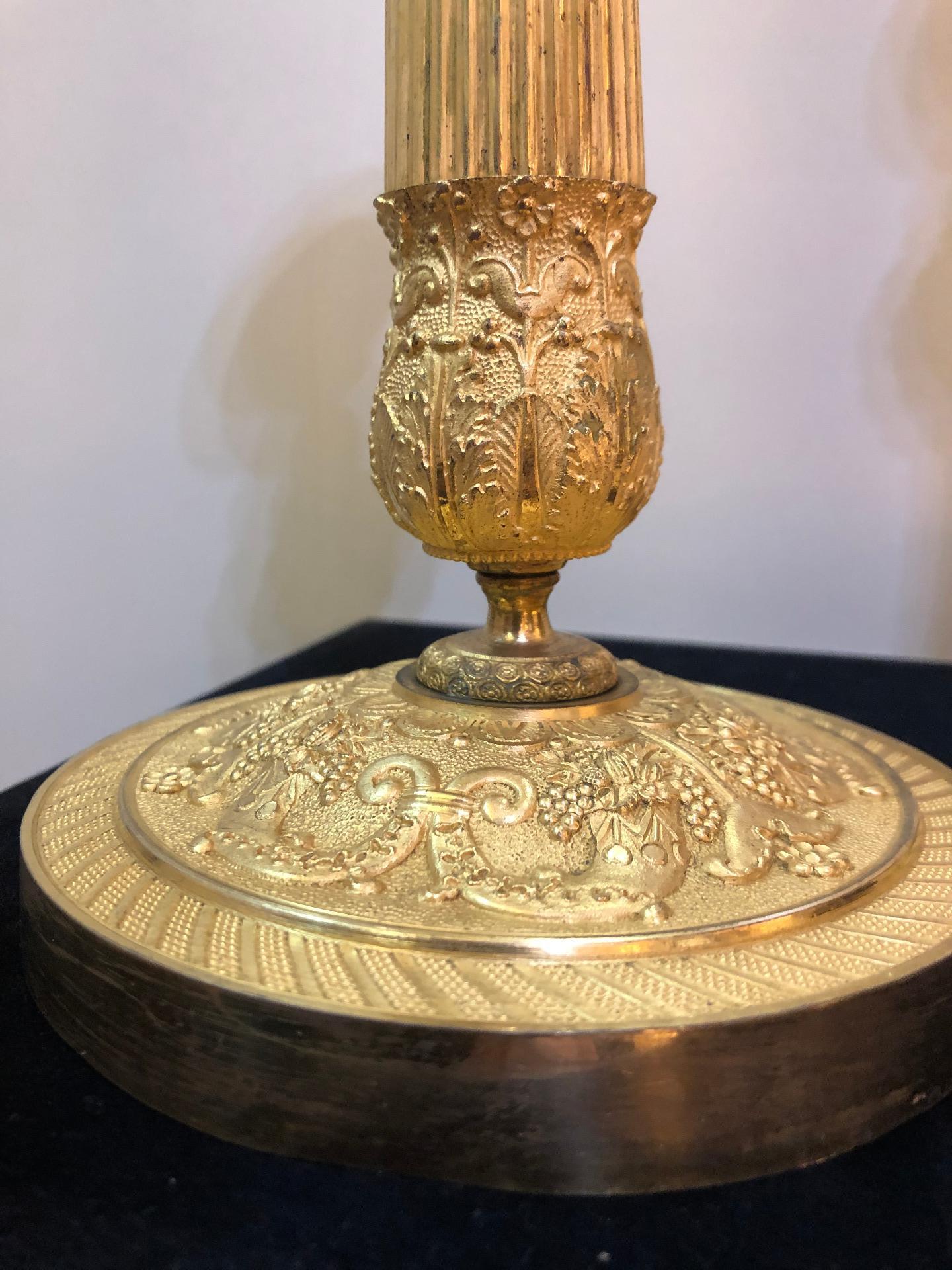 thumb8|Coppia di bugie in bronzo dorato Impero Francia 1810