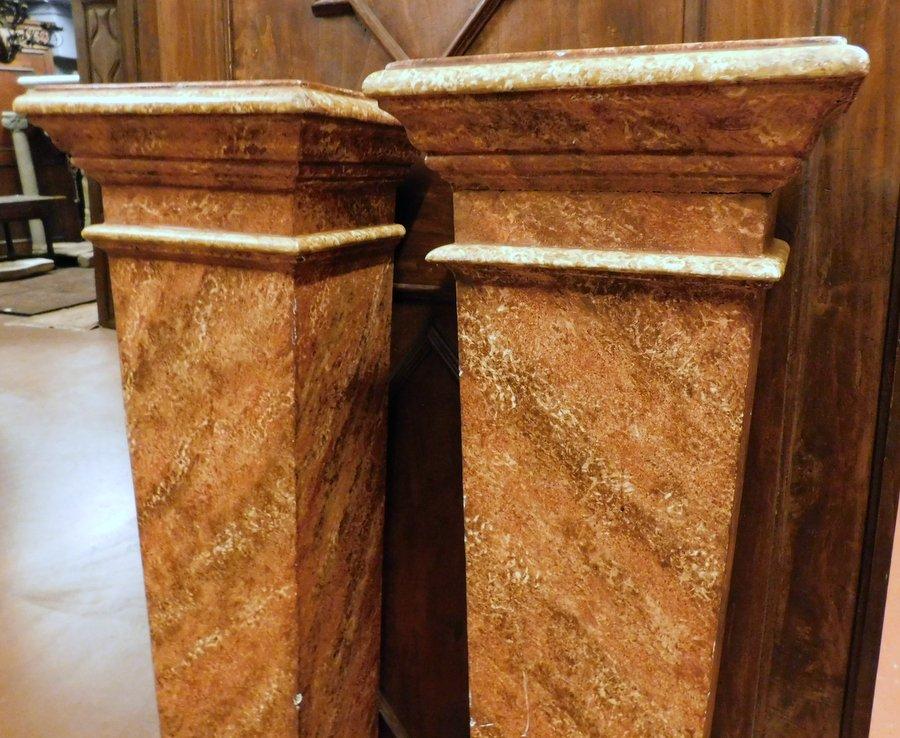 thumb4 dars361 - coppia di colonne in legno, cm max l 39 x h 132
