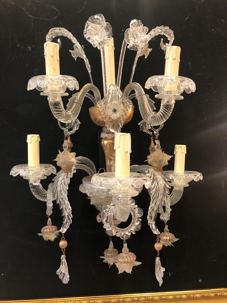 Applique vetro di Murano 6 fiamme