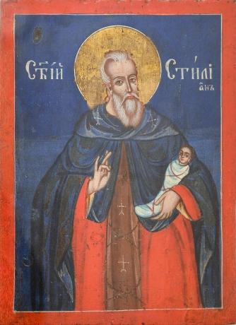 """""""San Stiliano di Paflagonia"""" - Icona Greco-Ortodossa olio su legno, Greek Orthodox icon oil on wood"""