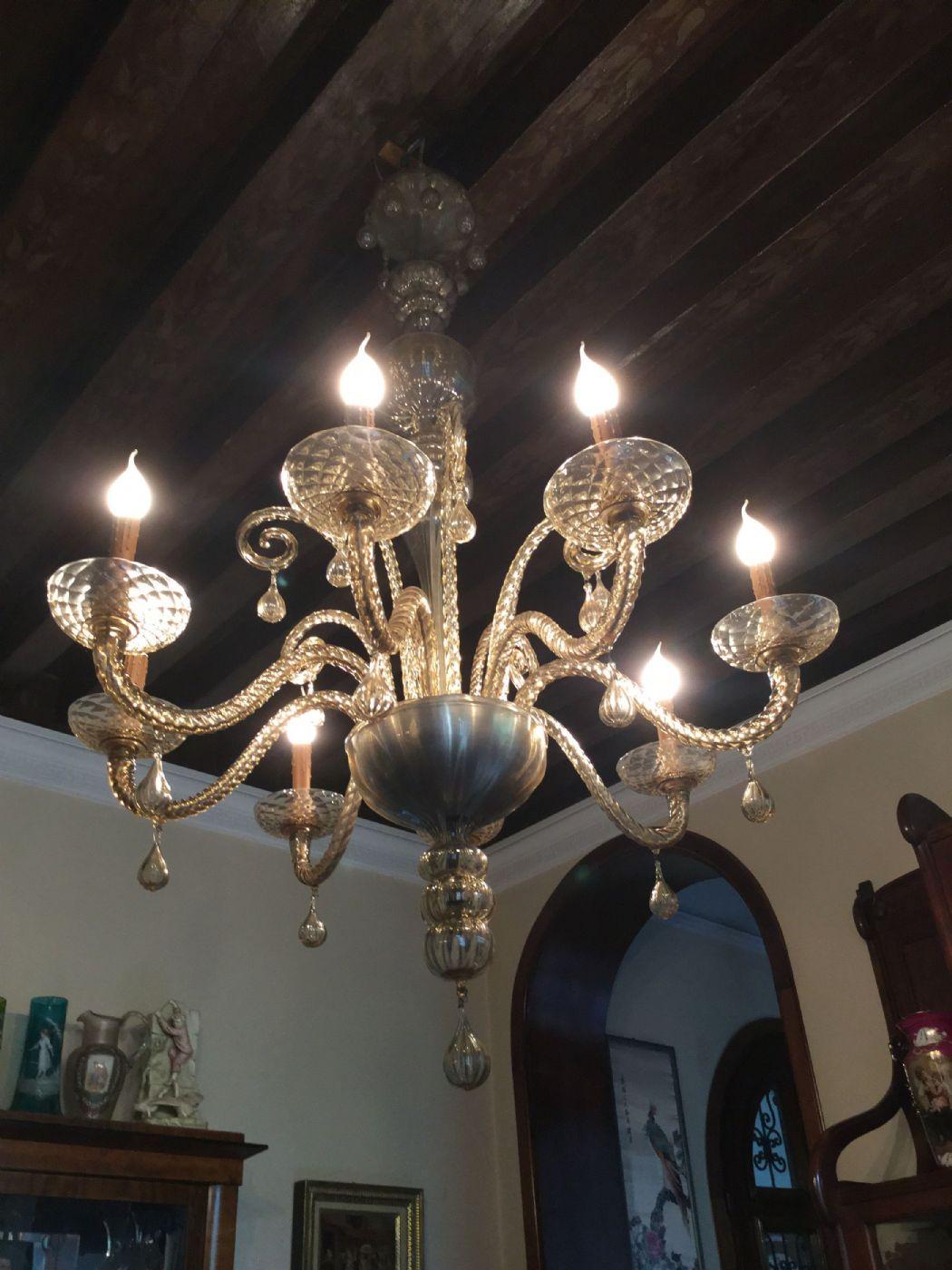 Lampadario Murano Anni 40.Lampadario Murano Anni 30 40 H 150x95 Colore Ambra 8 Luci